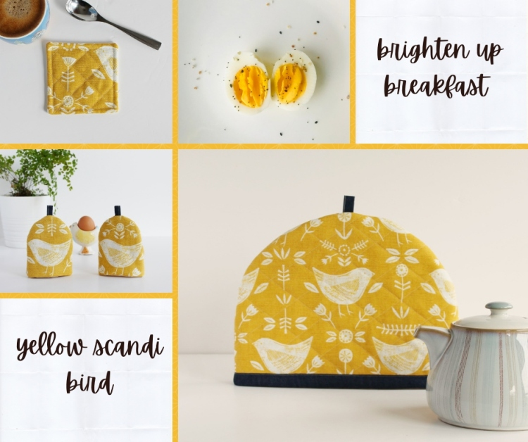 A selection of egg cosies, tea cosies, and drinks coasters in avibrant yellow scandi bird print
